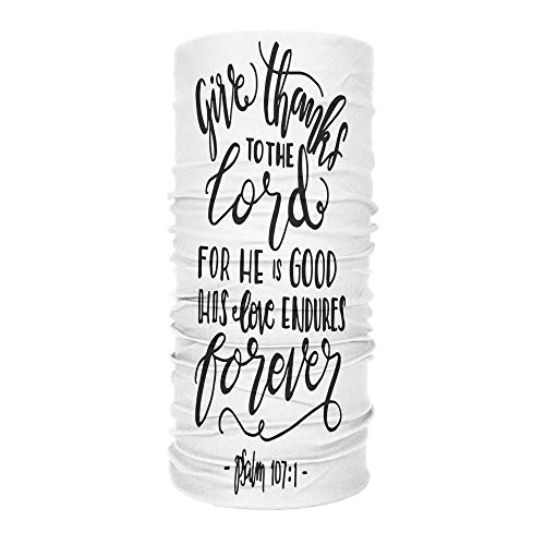 U Bible Verse Headbands Give Thanks To The Lord For He Is Good His Love Endures Forever Elastic Bandana Scarf Headwear Head Wrap for Running Yoga Bike Helmet for Men and Women