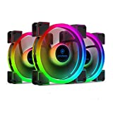 anidees AI Aureola Duo 140mm 3pcs RGB PWM Dual Light Loop Fan Compatible with 5V 3pins addressable RGB Header, for PC case Fan, Cooler Fan, w/Remote(AI-AR-DUO14)