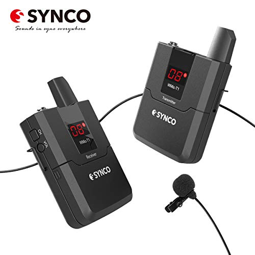 SYNCO WMic T1 UHF-Micrófono-Solapa-Inalámbrico-Sistema 16 Canales...
