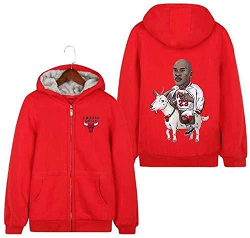 BBLTO Jersey para Hombre Chaqueta para Hombres/Mujeres Michael Jordan # 23 Sports Zip Basketball Hoodie Espesar Abrigo con Capucha Invierno Mejor Regalo Camisa Activa (Color : A, Size : XXX-Large)