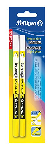 Pelikan 456 - Pack de 2 marcadores resaltadores borrables, color amarillo