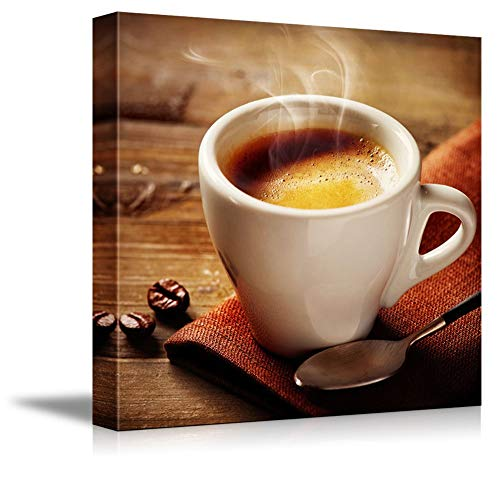 "Womenfocus Wall Print Art - White Smoke Rising from a Cup of Espresso Coffee | Modern Home Decor Stretched Gallery Canvas Wrap Giclee Print & Framed Ready to Hang - 16"" x 16"""