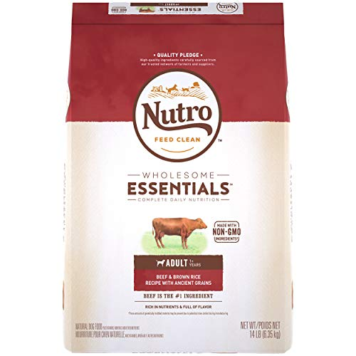 NUTRO WHOLESOME ESSENTIALS Adult Natural Dry Dog Food Beef & Brown Rice Recipe with Ancient Grains, 14 lb. Bag