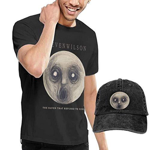 Thimd Uomo Maglietta e Cappello da Baseball, Steven Wilson The Raven That Refused to Sing T-Shirt And Washed Denim Baseball Dad Hat Black