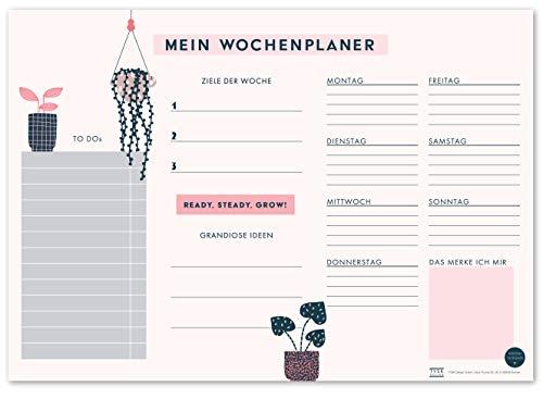 TYSK Design Schreibtischunterlage Pflanzen (Design wählbar) Tischunterlage aus Papier zum Abreißen DIN A3 to Do Liste Notizblock Wochenplaner