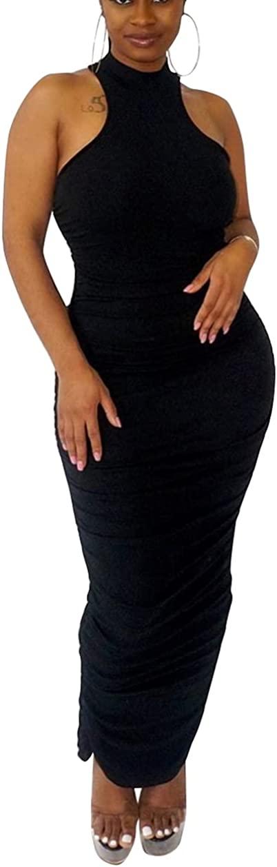 Bluewolfsea Womens Sexy Summer Sleeveless Racerback Tank Top Ruched Bodycon Maxi Dress with Back Slit