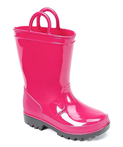 SkaDoo Pink with Black Sole Little Kid Youth Rain Boots 1 M US Little Kid