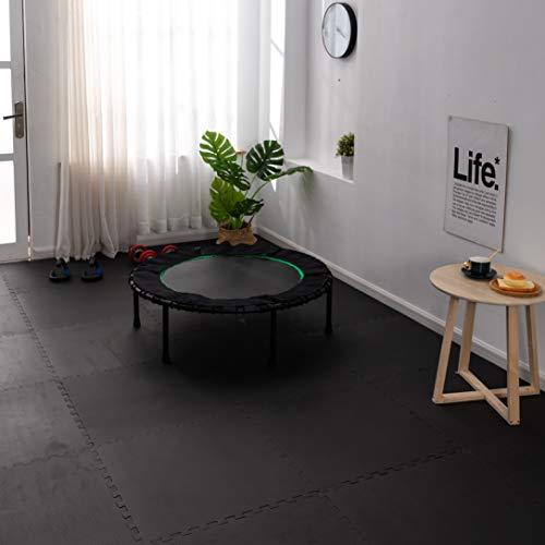 Ottomanson Exercise Floor Mat with EVA Foam, Black
