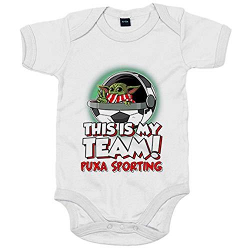 Body bebé parodia baby Yoda mi equipo de fútbol Puxa Sporting - Blanco, 6-12 meses