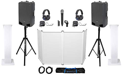 Learn More About Samson DJ Package w/2) 15 Speakers+Tripod+Totem Stands+Facade+Headphones+Mic