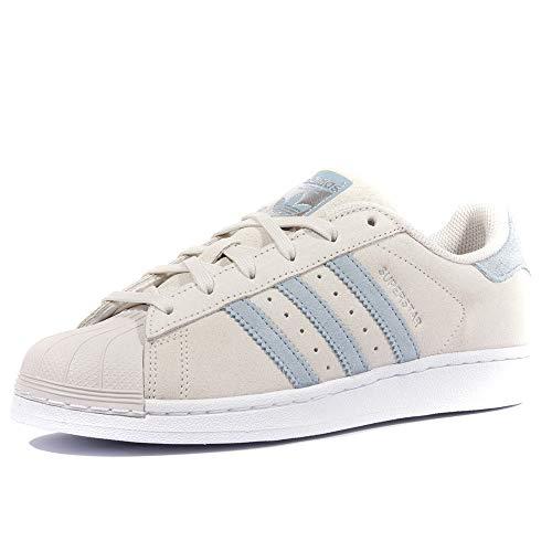 adidas Men's Superstar Low-Top Sneakers, Grey (Pearl Grey/Tactile Blue/Tactile Blue), 6 UK