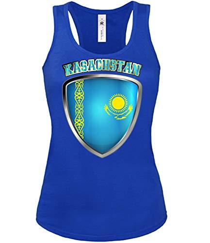 Kasachstan Kazakhstan Fan t Shirt Artikel 4728 Fuss Ball Tank Top für Mädchen EM 2020 WM 2022 Trikot Look Fahne Flagge Frauen Damen Mädchen XL