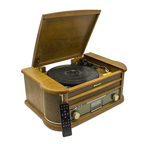 Roadstar HIF-1993BT - Sistema de madera retro HiFi con giradiscos (Bluetooth, FM, CD) color madera