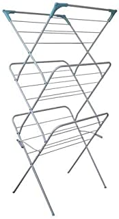 Peng Essentials Steel 3 Tier Cloth Drying Stand   Foldable Airer for Easy Storage   Long-Lasting   Massive Drying Capacity