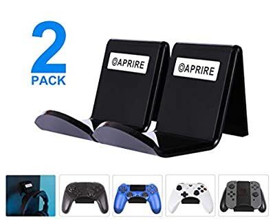 Controller Stand Wall Holder Mount for Xbox One PS4 Pro - Pack of 2 OAPRIRE Acrylic Video Game Controller Accessories with Cable Clips - Black