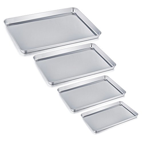 TeamFar Baking Tray Set of 4, Stainless Steel Baking Sheet Pan...