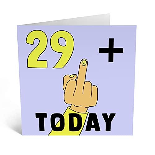 Central 23 - Lustige Geburtstagskarte zum 30. Geburtstag für Sie – '29 + Mittelfinger' – lustige 30. Geburtstag Karten für Frauen – freche 30. Geburtstag für Männer – kommt mit lustigen Aufklebern