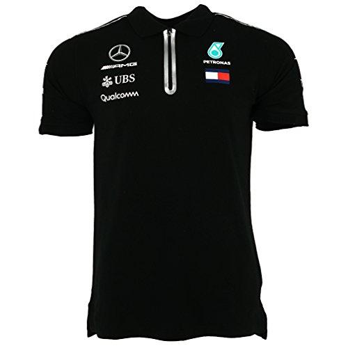 Official Formula One Merchandise | Männer | Offizielle Mercedes-AMG Petronas Motorsport 2019 F1™ | Team Poloshirt | Schwarz | Baumwolle und Elestan | Größe: L