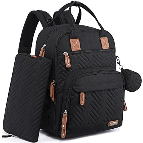 Diaper Bag Backpack, iniuniu Large Unisex Baby Bags for Boys Girls, Waterproof Travel Back Pack with Diaper Pouch, Washable Changing Pad, Pacifier Case and Stroller Straps, Black