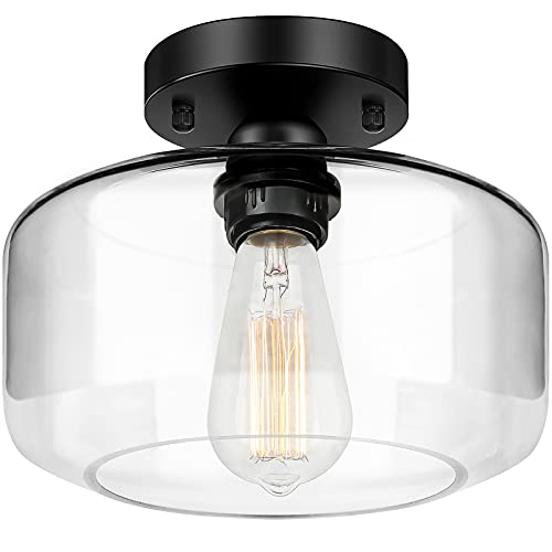 Black Semi Flush Mount Ceiling Light with Clear Glass Shade, Farmhouse Close to Ceiling Lights, Industrial Flush Mount Light Fixture for Bedroom Kitchen Hallway Entryway Porch Corridor, E26 Base