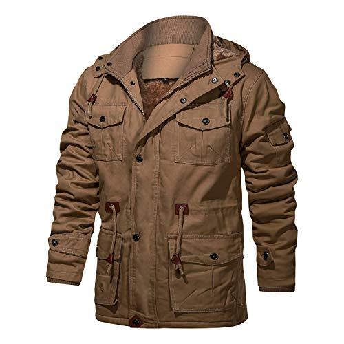 FEDTOSING Winterjacke Herren Innenfleece Militär Übergangsjacke Baumwolle Parka Jacke Cargo Feldjacke Multi Taschen Kapuze(EU Khaki 3XL