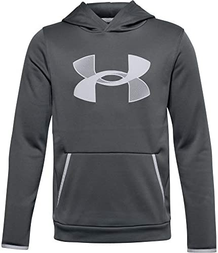 Under Armour Boys Armour Fleece Hoodie Pitch Gray 012 Mod Gray Youth Large product image