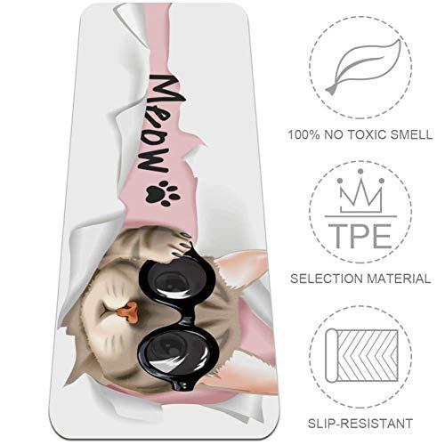 DJROWW Yoga Mat Kat Komt Uit Papier Illustratie Natuurlijke Pilates Oefening Mat Eco Vriendelijke Gym Mat Dikte 1/4
