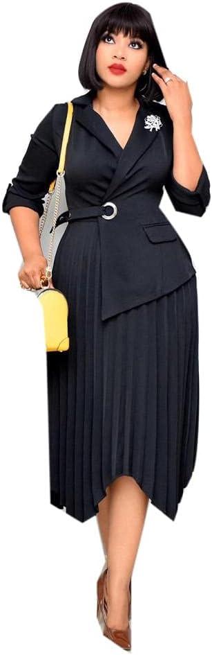 Fashion Office Pleated Dress for Women Laple Long Sleeve Formal OL Business Work Bodycon Dress Midlength Dresses-Black_XXL