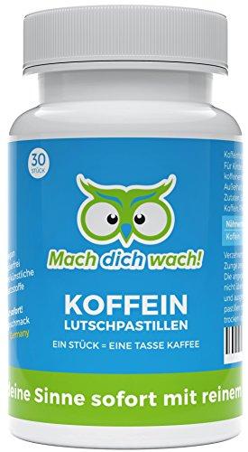 Koffein Lutschpastillen - Qualität aus Deutschland - 100mg Koffein mit Sofort-Wirkung - wirkt schneller als Koffeinkapseln und Koffeintabletten - ohne künstliche Zusätze - Mach dich wach!®