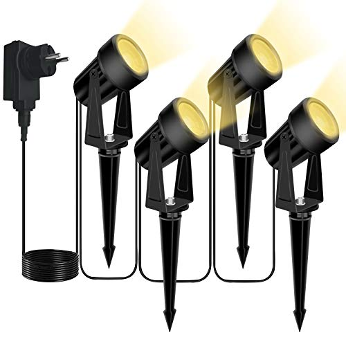 Svater Gartenbeleuchtung, 4er Set 3W LED Gartenstrahler mit Stecker Gartenstrahler Warmweiß-LED Gartenleuchten mit Erdspieß IP65 Wasserdicht Gartenstrahler mit Stecker für Außen Garten Rasen