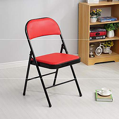 LXJ-KLD Silla Plegable Respaldo Silla de Oficina Simple Conferencia Evento Silla Silla Silla Silla de Formación Informática Alquiler Fila Silla,Rojo