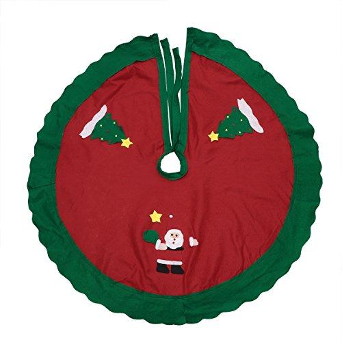 Tinksky Weihnachtsbaum-Rock mit Weihnachtsmann-Muster Weihnachtsbaum-Kreis-Unterseiten-Abdeckungs-Weihnachtsbaum-Verzierungen Dekoration-HauptPartei-Festival-Dekor-Versorgungsmaterialien 86cm