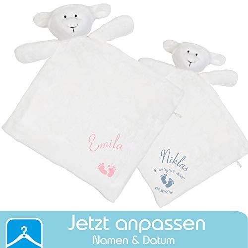 dein Shirt - Persönliches Schnuffeltuch Schaf mit Namen (Datum & Uhrzeit optional) - Schmusetuch fürs Baby Junge und Mädchen - Geschenk zur Geburt oder für das Patenkind zur Taufe (Füße)