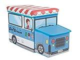 Bieco Aufbewahrungsbox mit Deckel Kinder Icecream, faltbar, Sitzhocker mit Sitzgelegenheit, und Polsterung, Spielzeugkiste mit Stauraum, Sitztruhe, Jungen & Mädchen, 46 L, Belastbar bis 80 Kg, blau