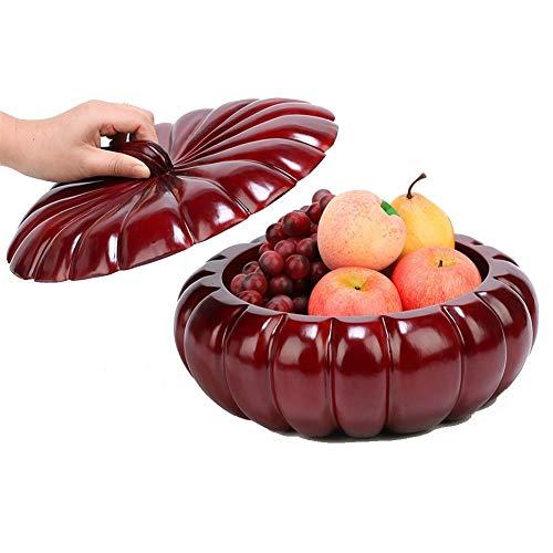 H-ei Crafts Holzschnitzerei Ornamente Große 24cm Massivholz-Frucht-Behälter