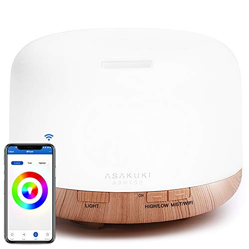 ASAKUKI Wi-Fi Smart Essential Oil Diffuser Echo Alexa Control, 500ml 5 In 1 Ultrasonic Aromatherapy Fragrant Oil Vaporizer Humidifier, Timer and Auto-Off Safety Switch, 7 LED Light Colors
