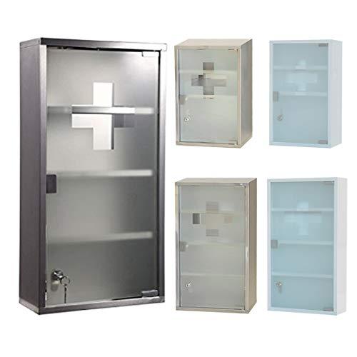 Edelstahl Medizinschrank Arzneischrank Erste Hilfe Schrank Glastür mit Schloss und 2 Schlüssel Tip-on Automatik (4 Fächer-Silber, 60x30x12cm)