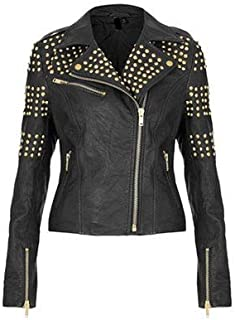 Womens Studded Leather Jacket Ladies Vintage Stylish Fashion Leather Jacket Custom Made
