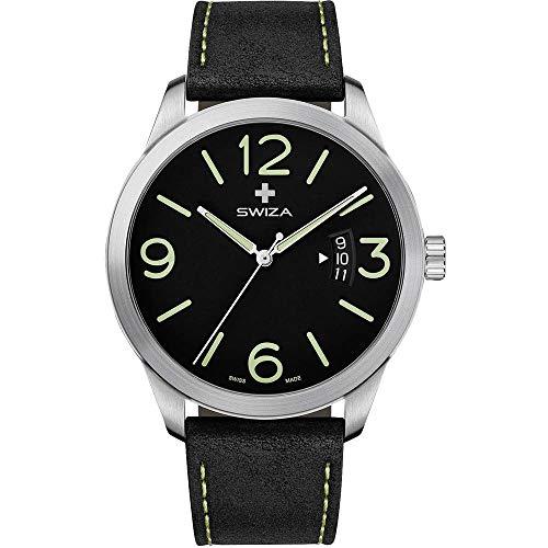 SWIZA Armbanduhr Magnus, ETA F07.111 Uhrwerk, Saphirglas, Edelstahl 316L Gehäuse, schwarzes Zifferblatt, Kalbsleder,