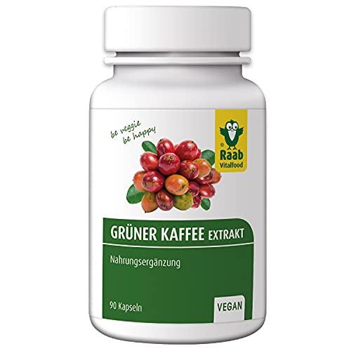Raab Vitalfood Grüner Kaffee Extrakt mit Chlorogensäure, 90 Kapseln, vegan, glutenfrei, laborgeprüft in Deutschland