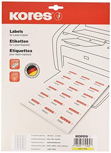 Kores Folien Etiketten weiß Laser+Kopierer 45,7 x 21,2mm 10 Blatt 480 Etiketten