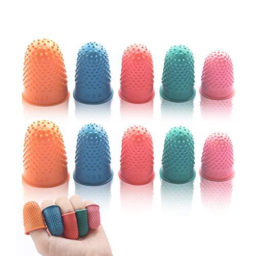 Zeaye 10 Stück Gummi-Fingerspitzenpolster, Wiederverwendbare Schutzschicht, 5 Größen, zum Zählen, Sortieren, Schreiben, Sortieren, für Aufgaben, Heißkleber und Sportspiele (blau/orange/grün/rot/pink)
