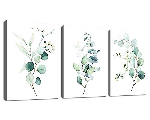 Green Leaf Wall Art Watercolor Eucalyptus Canvas Pictures Modern Bohemia Canvas Artwork Conemporary Minimalism Wall Art Prints for Bedroom Bathroom Living Room Wall Decor 12' x 16' x 3 Pieces