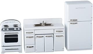 Aztec Imports, Inc. Dollhouse Miniature White 1950s 4-Pc. Kitchen Appliance Set