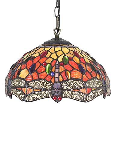 12 pulgadas Vintage Dragonfly Stained Glass Style Lámpara de techo Lámpara colgante Salón Luz del pasillo Lámpara