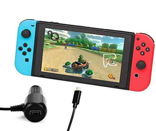 Lioncast Kfz Ladekabel für die Nintendo Switch Konsole / Switch Lite | Auto Reise Ladegerät USB-C | USB-A Port