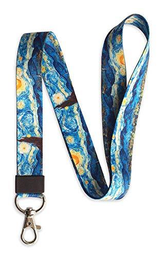 SENLLY Umhängeband Schlüsselband Neck Lanyard strip mit Karabinerhaken, für ID Badge Card Holder, Ausweishülle, Schlüssel, Mobile Handys Telefon (The Starry Night)