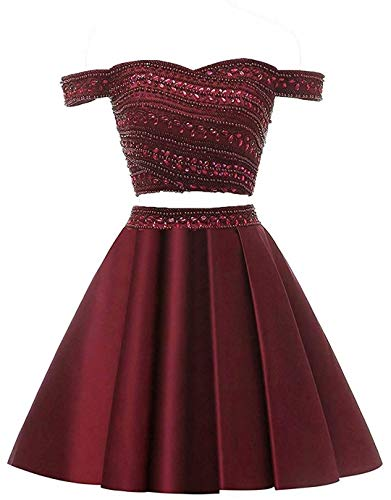 WanFuBridal Women's Homecoming Dresses Two Pieces Short for Juniors Cocktail Prom Dress with Beads