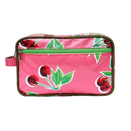 IKURI Wasserdichte Kosmetiktasche Kulturtasche Waschtasche Utensilio Handarbeit aus Wachstuch, mit Kirschen - Design Cerezas pink