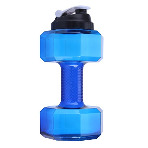 Fdit Sport a forma de mancuernas de grande capacidad botella de agua deportiva fitness Gym Training Copa Tapa a Prueba de Fugas 5 colores